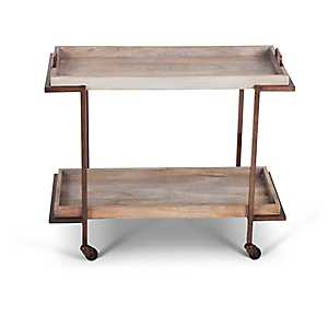 Mango Wood and Copper Serving Cart