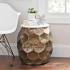 Round Honeycomb Marble Top Accent Table