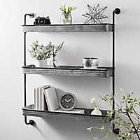 Galvanized Metal 3-Tier Wall Shelf