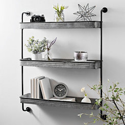 Galvanized Metal 3-Tier Wall Shelf