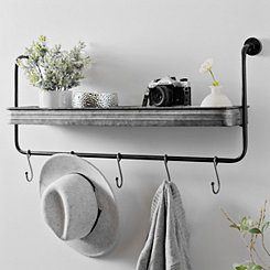 Galvanized Metal Industrial Shelf with Hooks