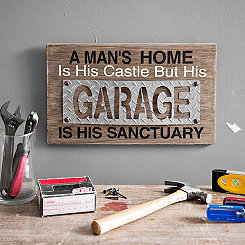 Garage Sanctuary Wood Wall Plaque