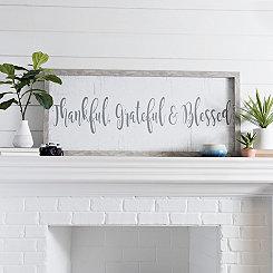 Thankful Grateful Blessed Wood Framed Art Print