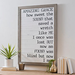Amazing Grace with Gray Wood Framed Art Print
