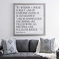 House Built by Wisdom Framed Wood Wall Plaque