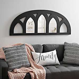 Cathedral Half-Arch Distressed Black Mirror