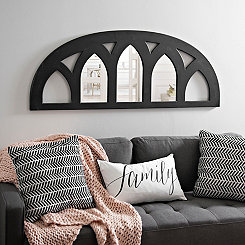 Cathedral Half-Arch Distressed Black Mirror