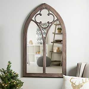 Dark Stained Clover Arch Wood Window Mirror