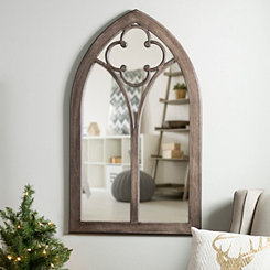 Dark Stained Clover Arch Wood Window Mirror