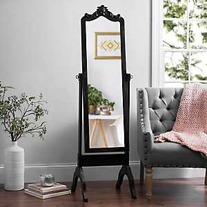 Ornate Carved Distressed Black Cheval Mirror