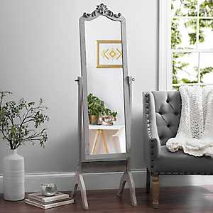 Ornate Carved Distressed Gray Cheval Mirror