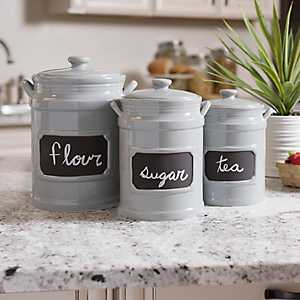 Tall Gray Chalkboard Kitchen Canisters, Set of 3