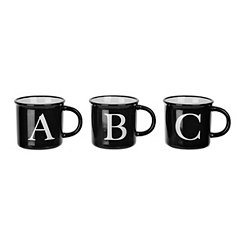Black and White Block Letter Monogram Mugs