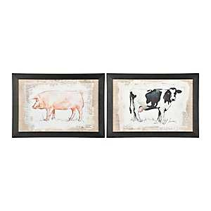 Burlap Cow and Pig Framed Art Prints, Set of 2