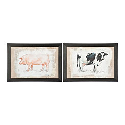 Burlap Cow and Pig Framed Art Prints, Set of 2