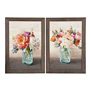 French Cottage Bouquet Framed Art Prints, Set of 2