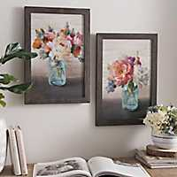 French Cottage Bouquet Framed Art Prints, Set of 2