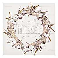 Grateful Blessed Wreath Canvas Art Print