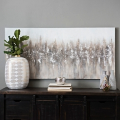 Gray Snowfall on Mountain Canvas Art Print