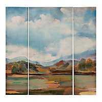 Blue Sky Landscape Canvas Art Prints, Set of 3