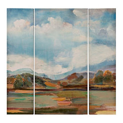 Blue Sky Landscape Canvas Art Prints, Set of 3