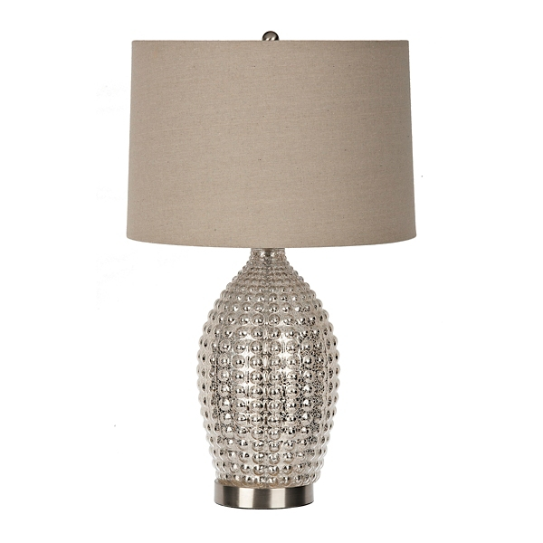 Knobbed Antique Silver Mercury Glass Table Lamp