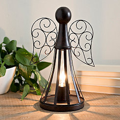 Rustic Bronze Metal Angel Table Lamp