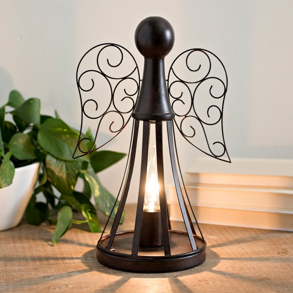 Superb Rustic Bronze Metal Angel Table Lamp