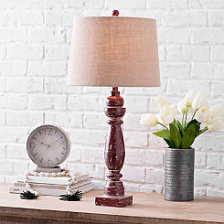 Distressed Red Table Lamp