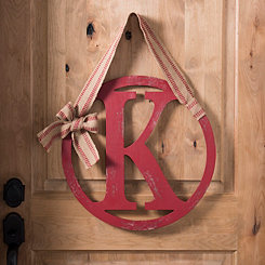 Red Rustic Round Monogram Wall Plaques with Ribbon