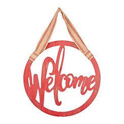 Red Rustic Round Welcome Wall Plaque with Ribbon
