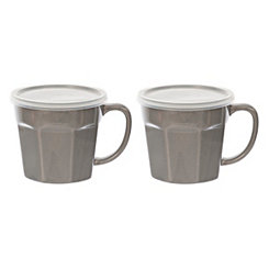 Gray Covered Soup Mug, Set of 2