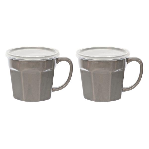 gray covered soup mug set of 2