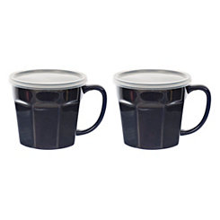 Navy Covered Soup Mug, Set of 2