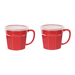Red Covered Soup Mug, Set of 2