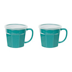 Teal Covered Soup Mug, Set of 2