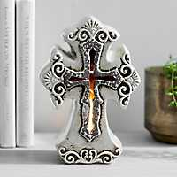 Cream Ceramic Cross Tabletop Night Light