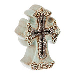 Aqua Ceramic Cross Tabletop Night Light