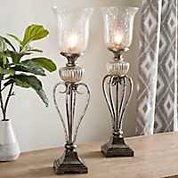 Silver Mercury Glass Uplights, Set of 2