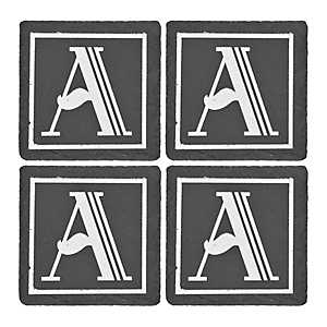 Slate Monogram A Coasters, Set of 4