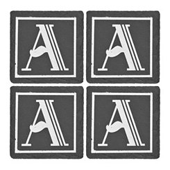 Slate Monogram A Coasters, Set of 4