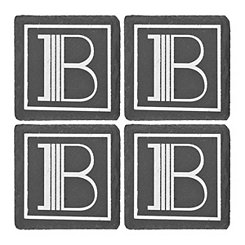Slate Monogram B Coasters, Set of 4