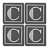 Slate Monogram C Coasters, Set of 4