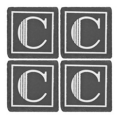 Slate Monogram C Coasters, Set of 4
