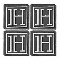 Slate Monogram H Coasters, Set of 4