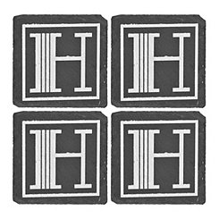 Slate Monogram H Coasters, Set of 4
