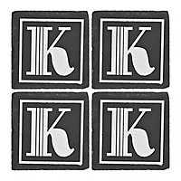 Slate Monogram K Coasters, Set of 4