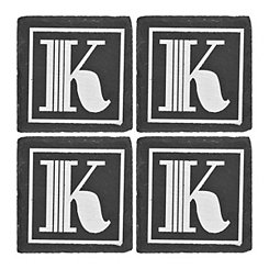 Slate Monogram K Coasters, Set of 4