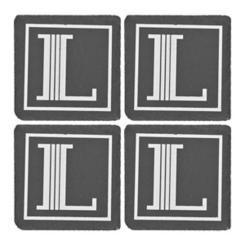 Slate Monogram L Coasters, Set of 4