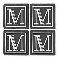 Slate Monogram M Coasters, Set of 4